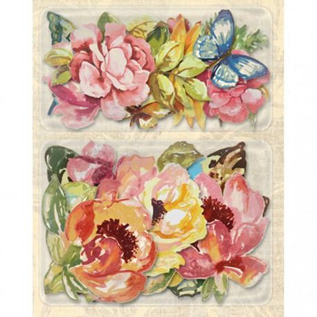 Розы и бабочки (Нежный букет) Стикеры для скрапбукинга, кардмейкинга K&Company