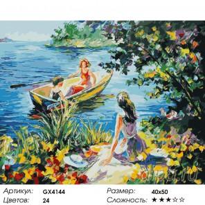 Катание на лодке Раскраска картина по номерам на холсте