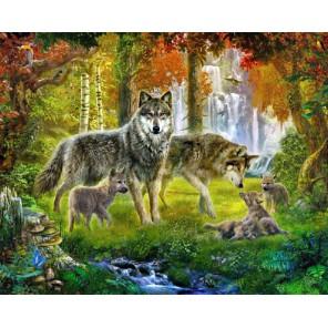 Семейство волка Раскраска картина по номерам на холсте