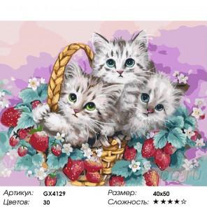 Корзина с котятами Раскраска картина по номерам на холсте