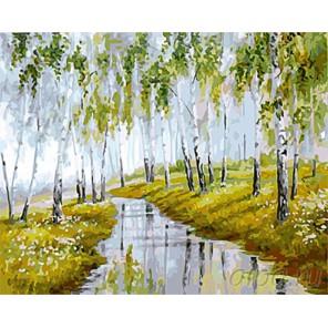 Пейзаж весенний Раскраска картина по номерам на холсте
