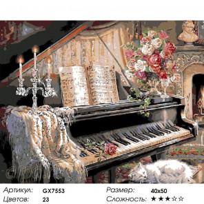 Количество цветов и сложность Соната у камина Раскраска картина по номерам на холсте