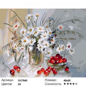 Ромашки и вишня Раскраска картина по номерам на холсте