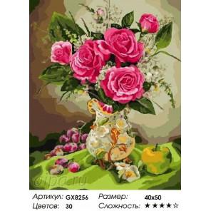 Розы с фруктами Раскраска картина по номерам на холсте