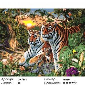 Семейство тигров Раскраска картина по номерам на холсте
