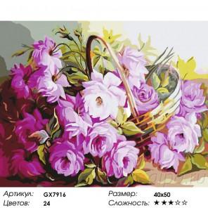 Нежные цветы в корзинке Раскраска картина по номерам на холсте