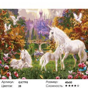 Мир единорогов Раскраска картина по номерам на холсте