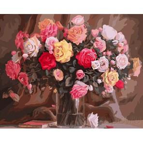 Сортовые розы Раскраска картина по номерам на холсте