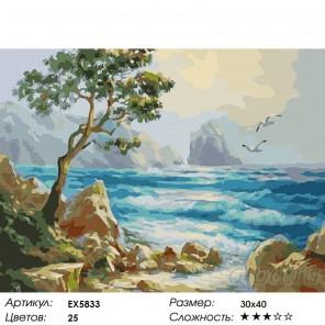 Количество цветов и сложность Белые скалы Раскраска картина по номерам на холсте