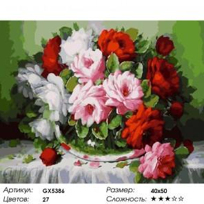 Крупные розы Раскраска картина по номерам на холсте