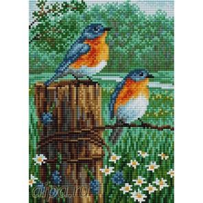 Птички весной Алмазная мозаика на магнитной основе