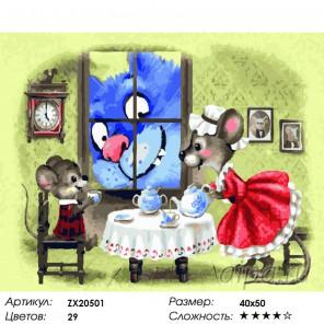 Количество цветов и сложность Чаепитие с котом  Раскраска картина по номерам на холсте