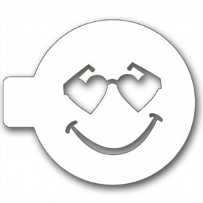 Смайлик в очках сердечках Трафарет для кофе и десертов