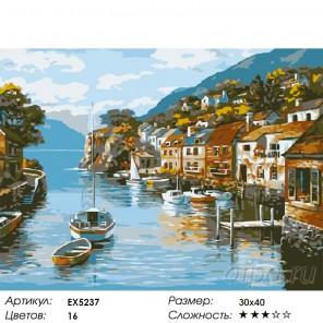 Город у моря Раскраска картина по номерам на холсте