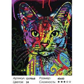 Абиссинский кот (художник Дин Руссо) Раскраска картина по номерам на холсте