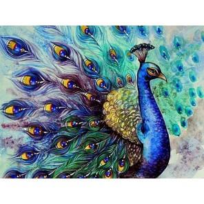 Царский павлин Раскраска - открытка по номерам с декором Color Kit