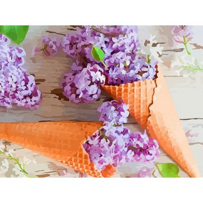 Сиреневый десерт Раскраска - открытка по номерам с декором Color Kit
