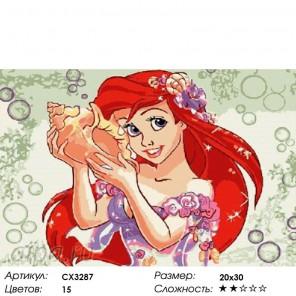 Русалочка Ариэль Раскраска картина по номерам на холсте