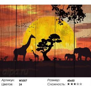 Количество цветов и сложность Закат в Саванне Картина по номерам на дереве Dali