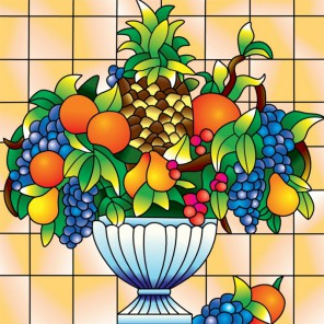 Ваза с фруктами Набор с рамкой для создания картины-витража Color Kit