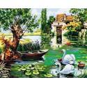 Лебединое семейство Раскраска картина по номерам на холсте