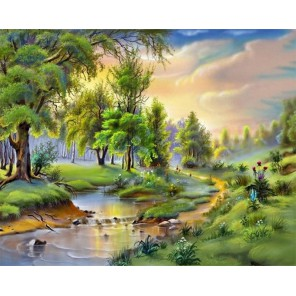 Утренняя природа Раскраска картина по номерам на холсте