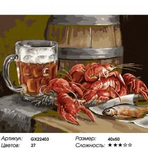 Пивко с раками Раскраска картина по номерам на холсте