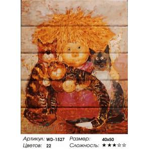 Солнечный ангел с котиками Картина по номерам на дереве
