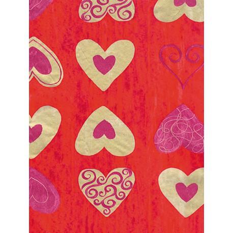 Сердечки на красном Бумага для декопатча Decopatch
