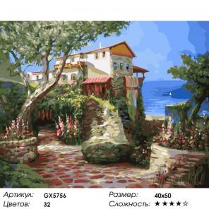 Количество цветов и сложность Домик в Крыму Раскраска картина по номерам на холсте