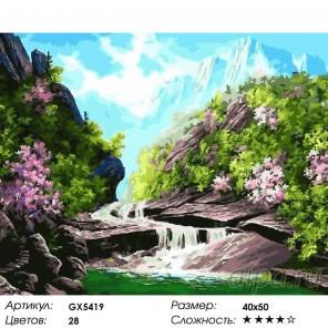 Количество цветов и сложность Весенний водопад Раскраска картина по номерам на холсте
