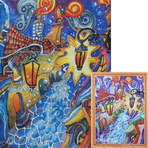 Городская мозаика Алмазная мозаика на подрамнике