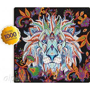Белый лев Алмазная вышивка мозаика на картоне