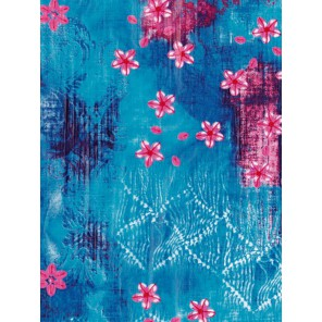 Розовые цветы на голубом Бумага для декопатча Decopatch