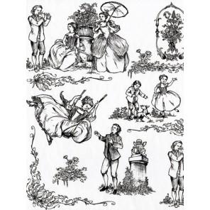19 век черно-белый Бумага для декопатча Decopatch