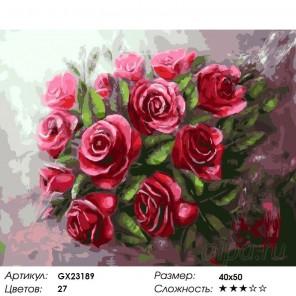 Количество цветов и сложность Алый букет роз Раскраска картина по номерам на холсте