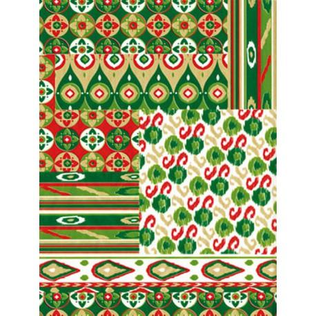 Орнамент зелено-красный Бумага для декопатча Decopatch