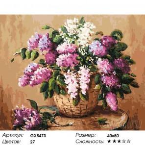 Количество цветов и сложность Сирень в лукошке Раскраска картина по номерам на холсте