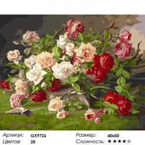 Королевские розы Раскраска картина по номерам на холсте