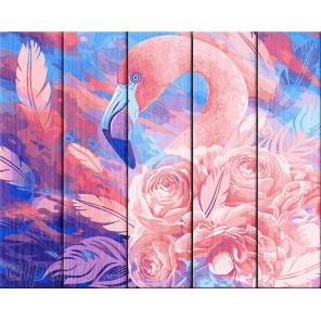 Розовый фламинго Картина по номерам на дереве Dali