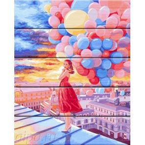 Любовь в воздухе Картина по номерам на дереве Dali
