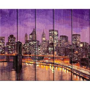 Ночь в Нью-Йорке Картина по номерам на дереве Dali