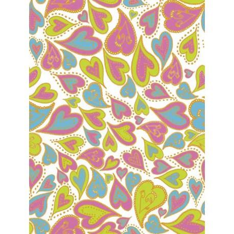 Сердечки кривые розово-голубые Бумага для декопатча Decopatch