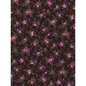 Розовые цветочки на черном Бумага для декопатча Decopatch