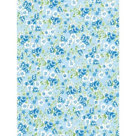 Цветочки на голубом Бумага для декопатча Decopatch