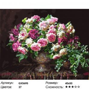 Количество цветов и сложность Дворцовые розы Раскраска картина по номерам на холсте