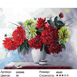 Букет георгин Раскраска картина по номерам на холсте