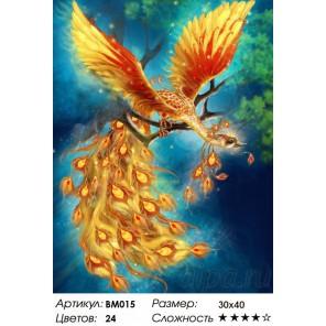 Птица счастья Раскраска - открытка по номерам с декором Color Kit