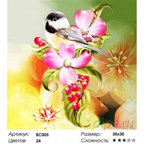 Милая птичка Раскраска - открытка по номерам с декором Color Kit