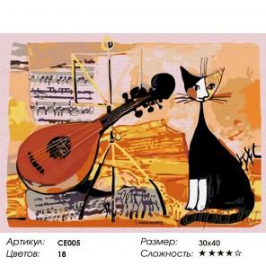 Музыкальный кот Раскраска по номерам на холсте Color Kit